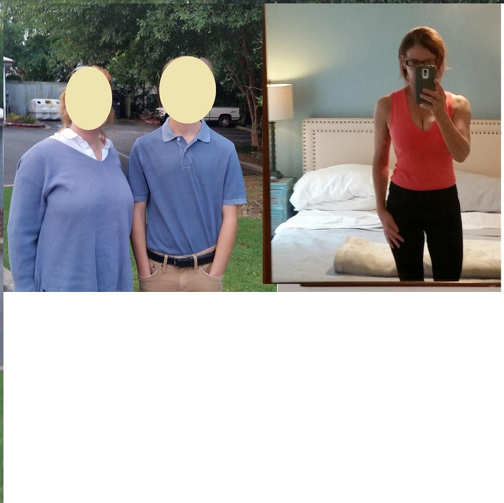 Before and After 50 lbs Weight Loss 5'5 Female 177 lbs to 127 lbs