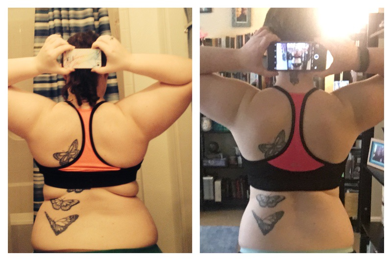 4 feet 11 Female Before and After 53 lbs Fat Loss 205 lbs to 152 lbs