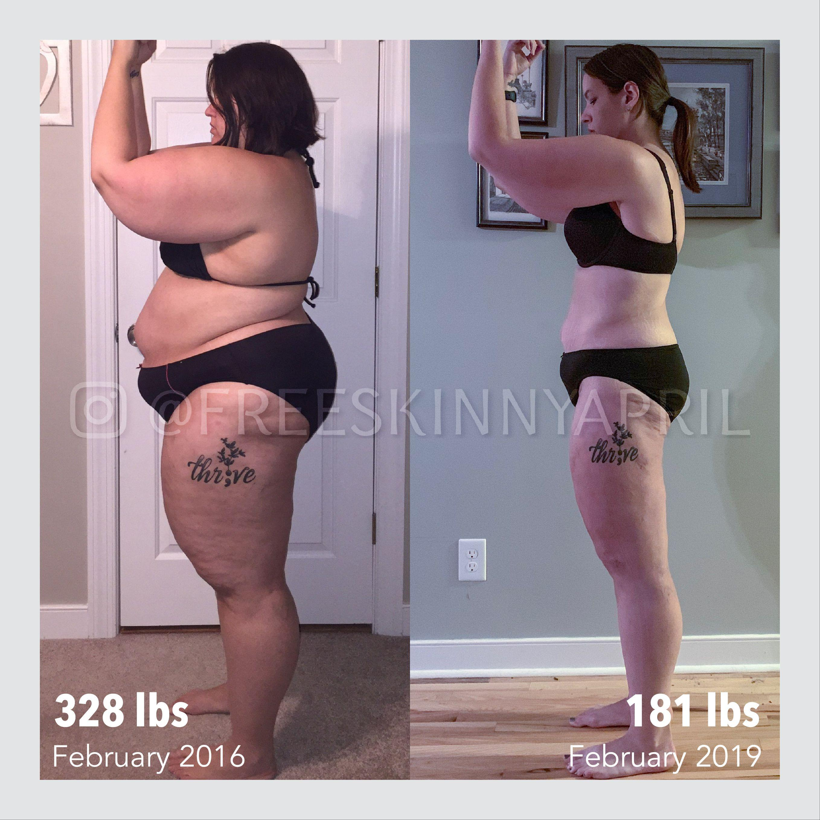 Before and After 147 lbs Weight Loss 5 feet 7 Female 328 lbs to 181 lbs