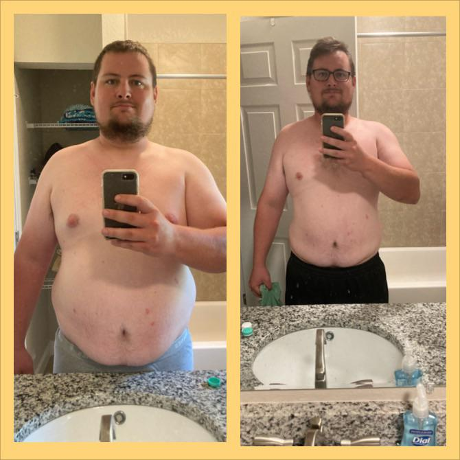 6 foot 1 Male Before and After 65 lbs Fat Loss 330 lbs to 265 lbs