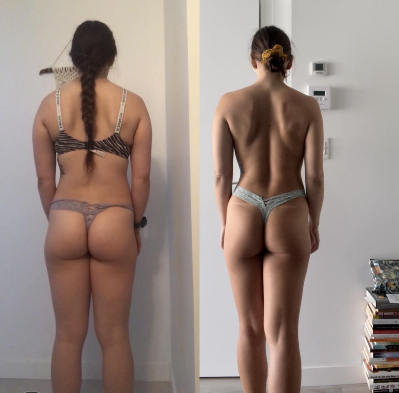 5 feet 6 Female Progress Pics of 10 lbs Fat Loss 155 lbs to 145 lbs