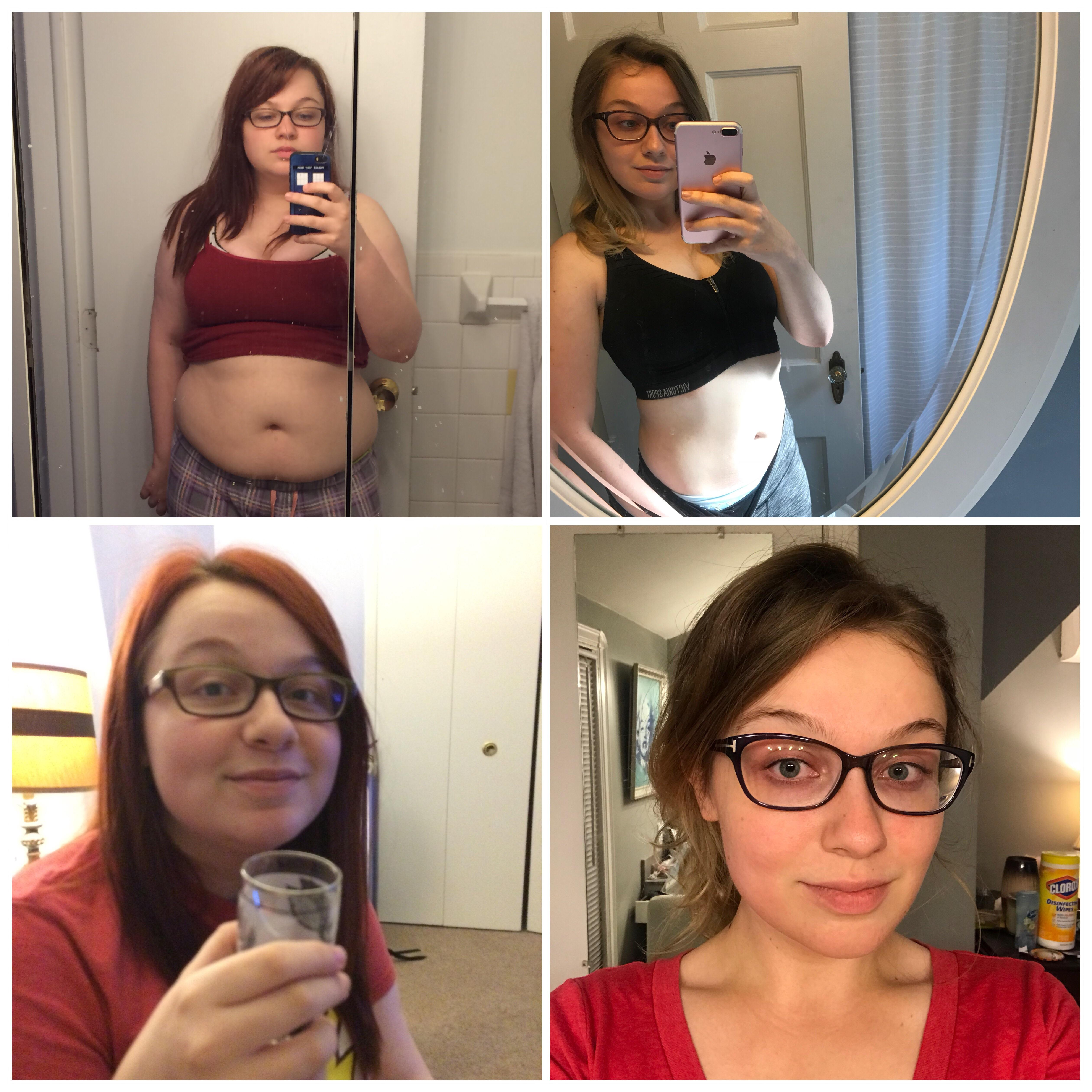 Before and After 55 lbs Weight Loss 5'3 Female 180 lbs to 125 lbs