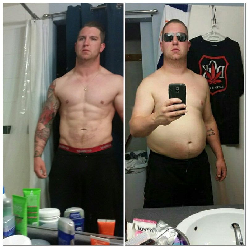 43 lbs Fat Loss Before and After 6 foot Male 253 lbs to 210 lbs