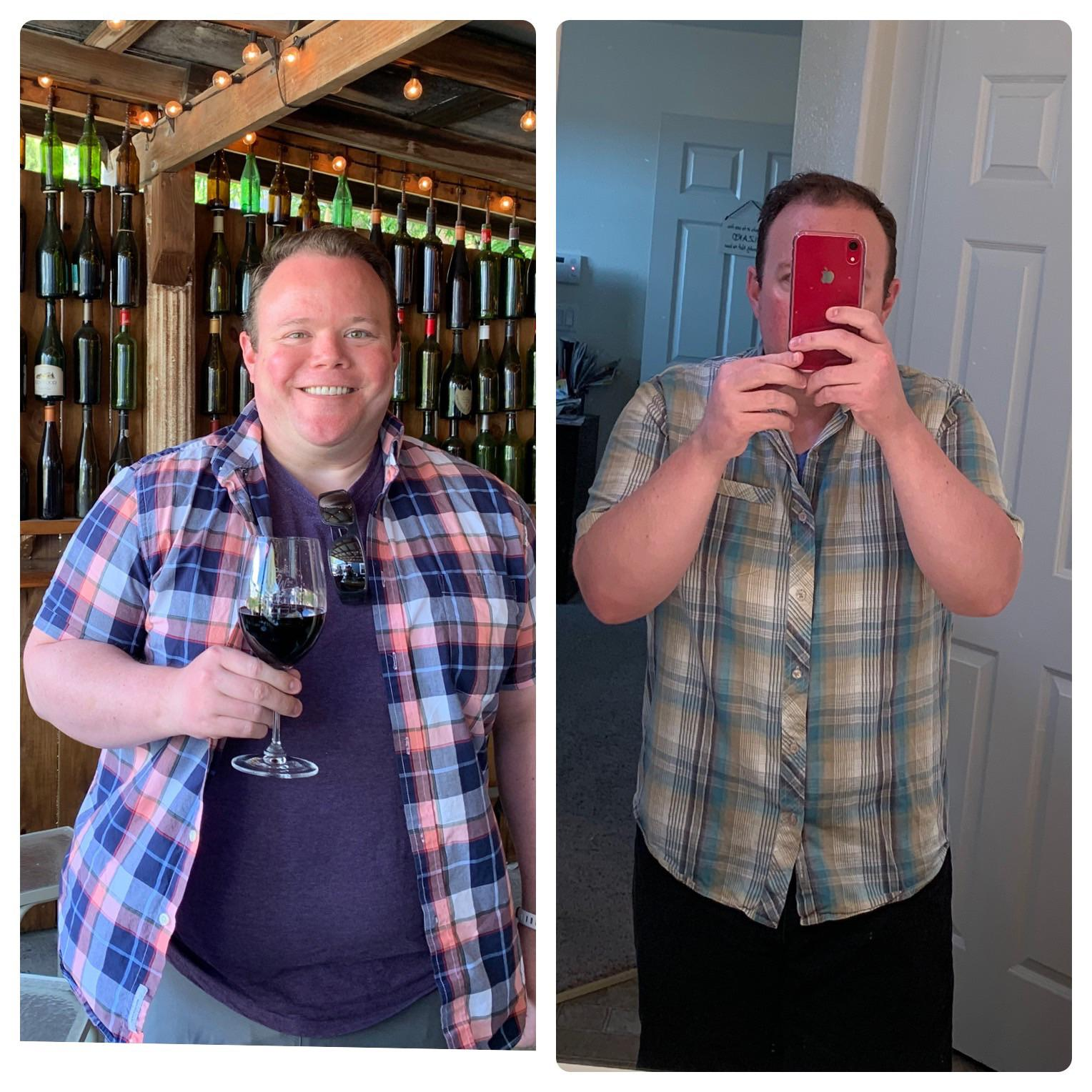 Before and After 70 lbs Fat Loss 5 feet 8 Male 280 lbs to 210 lbs