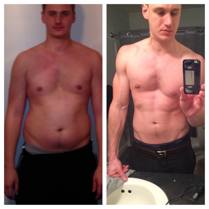 Before and After 60 lbs Fat Loss 6 foot 5 Male 265 lbs to 205 lbs