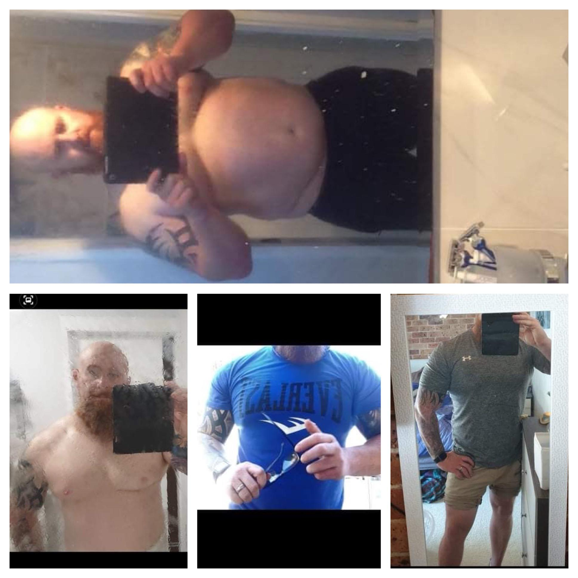 62 lbs Fat Loss Before and After 6 foot 2 Male 327 lbs to 265 lbs