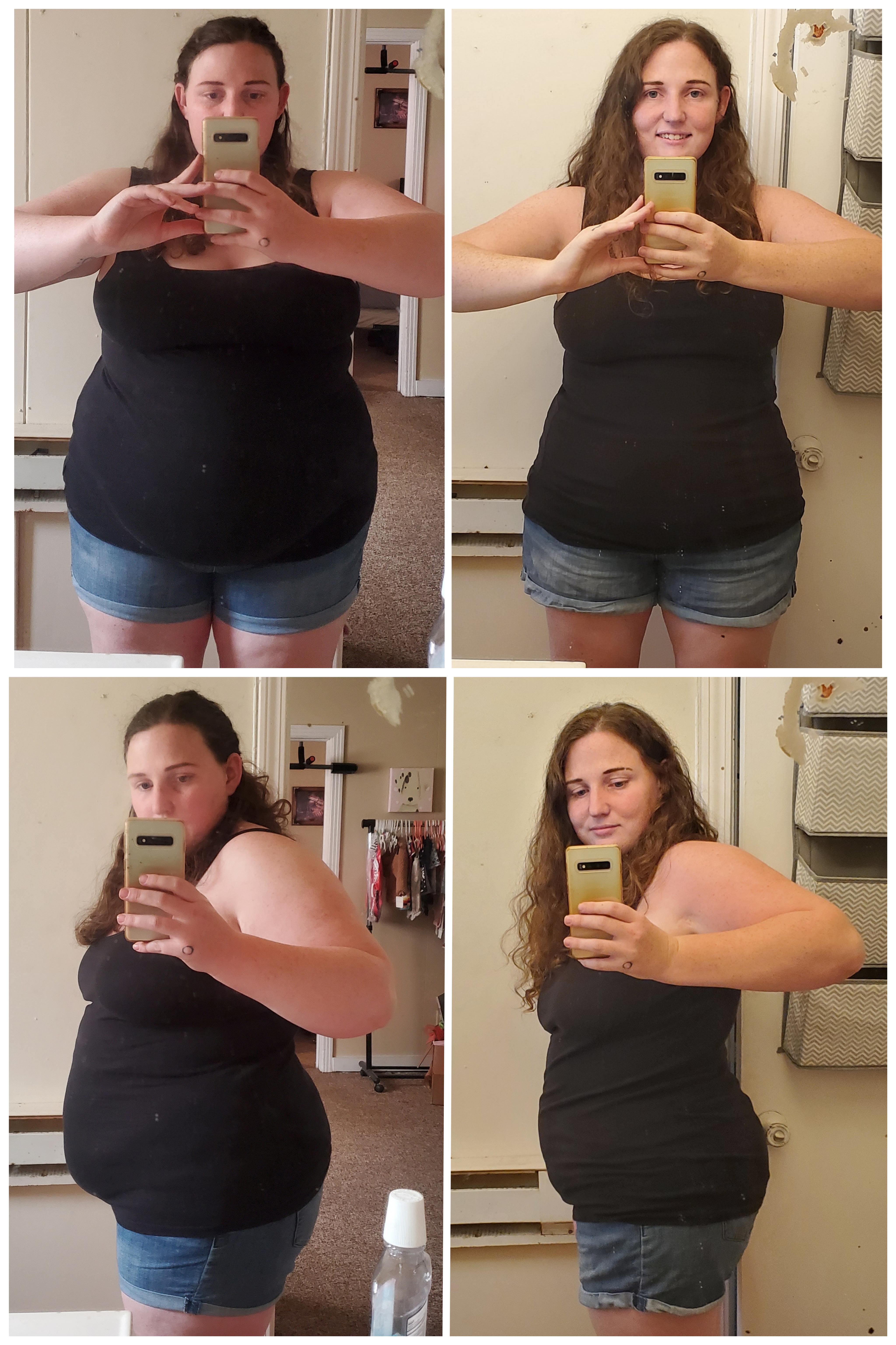 5 foot 4 Female Progress Pics of 61 lbs Fat Loss 265 lbs to 204 lbs
