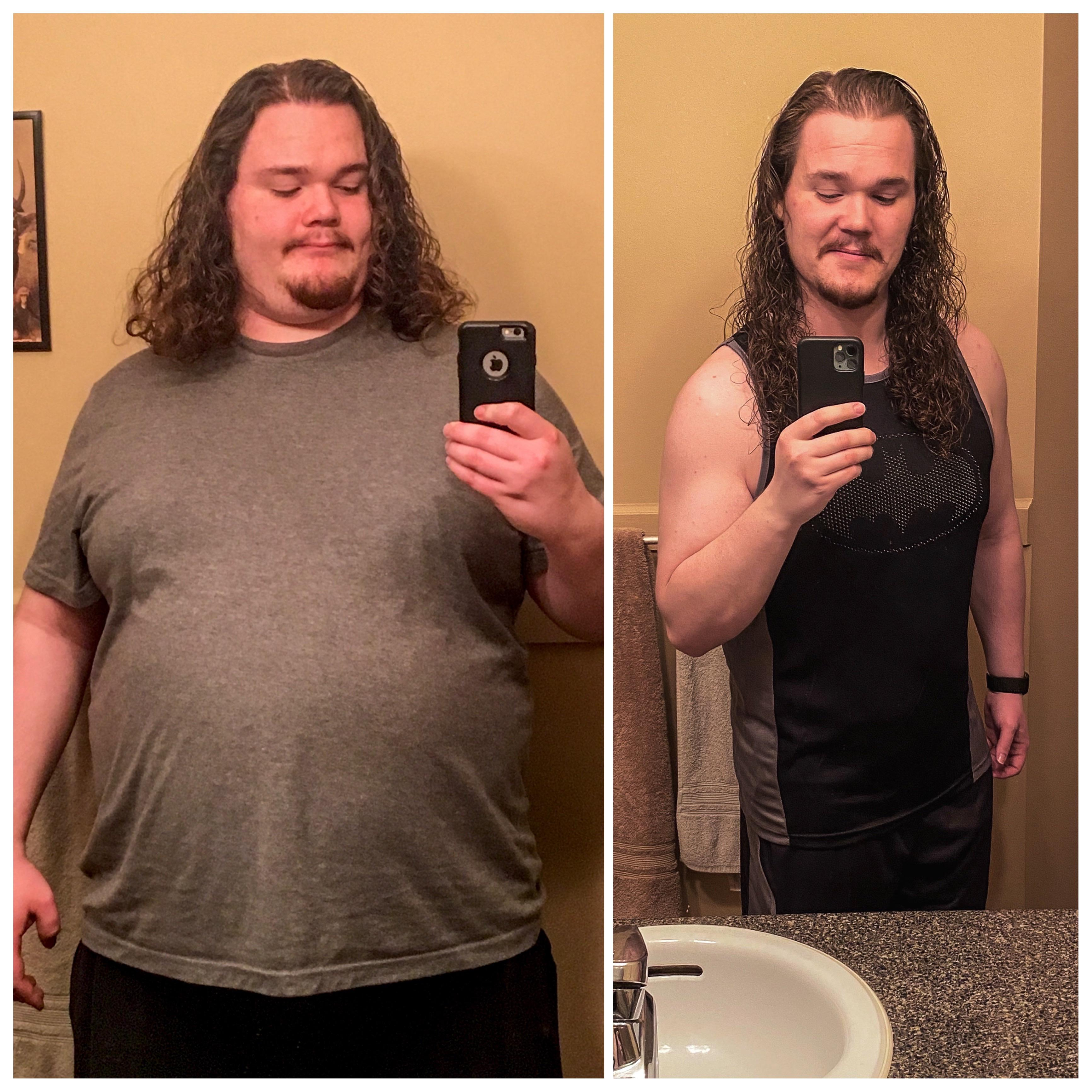 Before and After 123 lbs Fat Loss 5 feet 11 Male 352 lbs to 229 lbs
