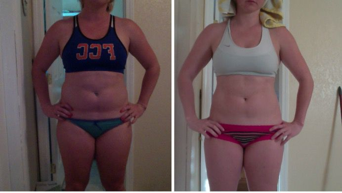 20 lbs Fat Loss Before and After 5 feet 7 Female 189 lbs to 169 lbs