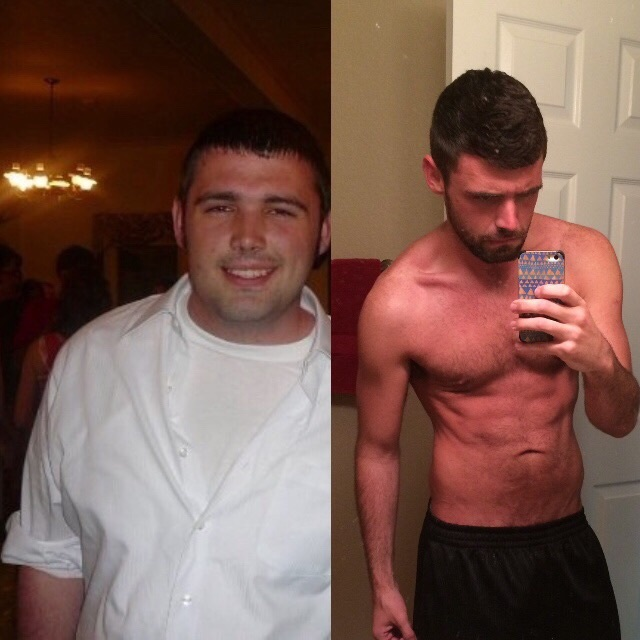 Before and After 70 lbs Fat Loss 6 foot Male 230 lbs to 160 lbs