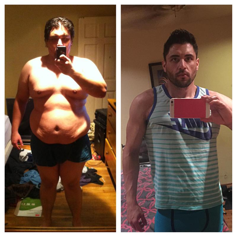 Before and After 125 lbs Weight Loss 6 foot Male 300 lbs to 175 lbs
