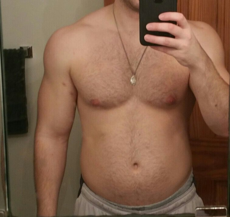 13 lbs Fat Loss Before and After 6 feet 1 Male 222 lbs to 209 lbs