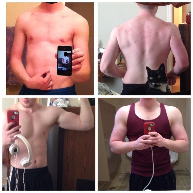 5 feet 8 Male Progress Pics of 35 lbs Weight Gain 120 lbs to 155 lbs