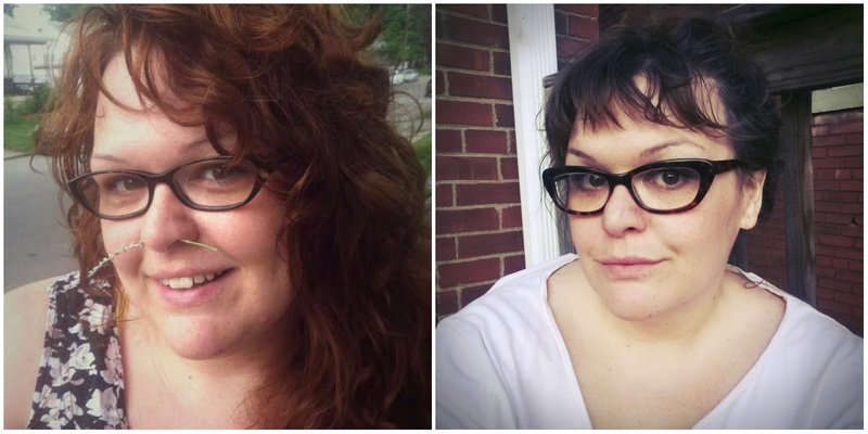5 feet 7 Female Before and After 75 lbs Weight Loss 355 lbs to 280 lbs