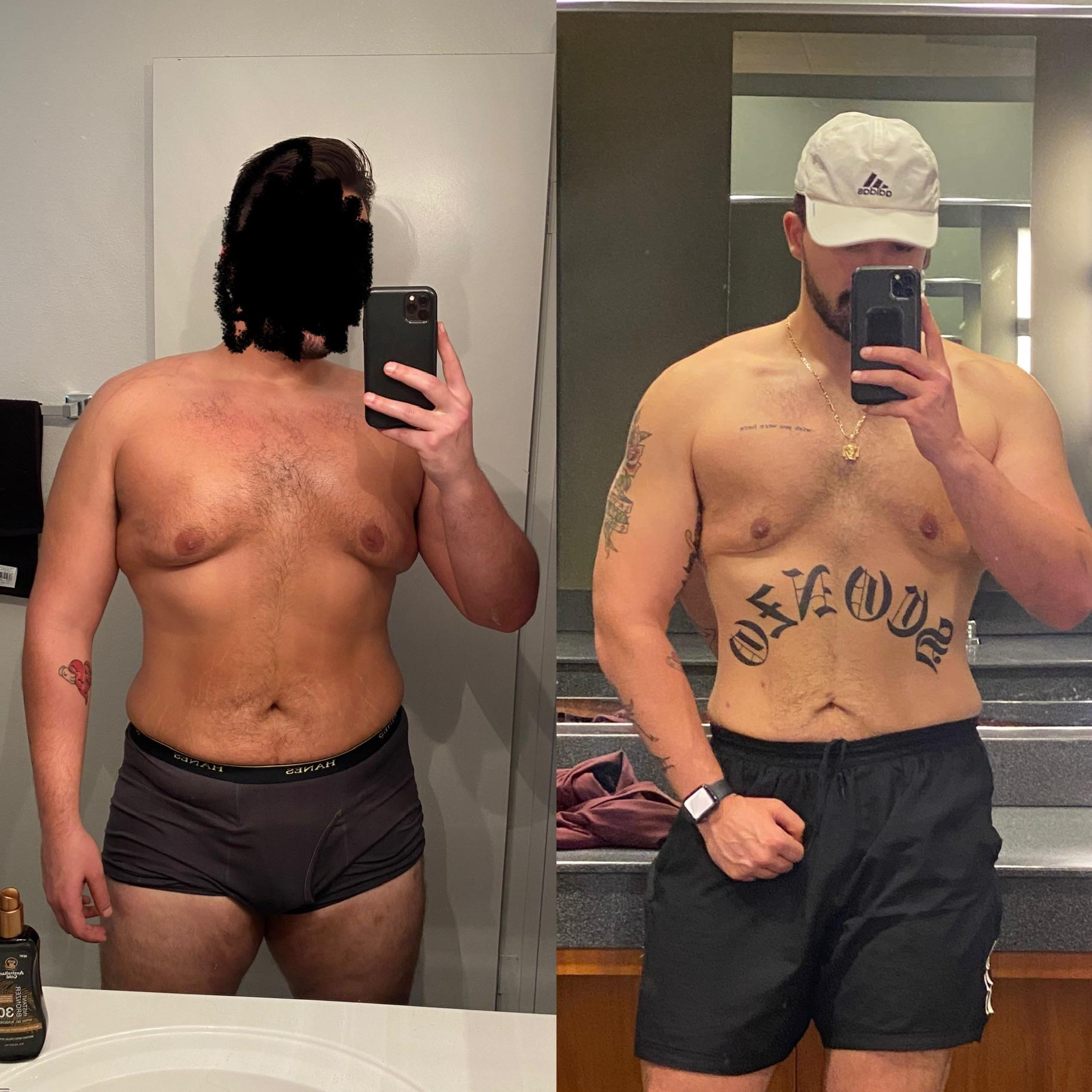 6'2 Male 55 lbs Fat Loss Before and After 285 lbs to 230 lbs