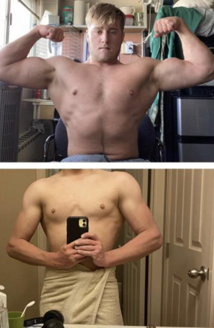 5 foot 8 Male 52 lbs Muscle Gain Before and After 120 lbs to 172 lbs