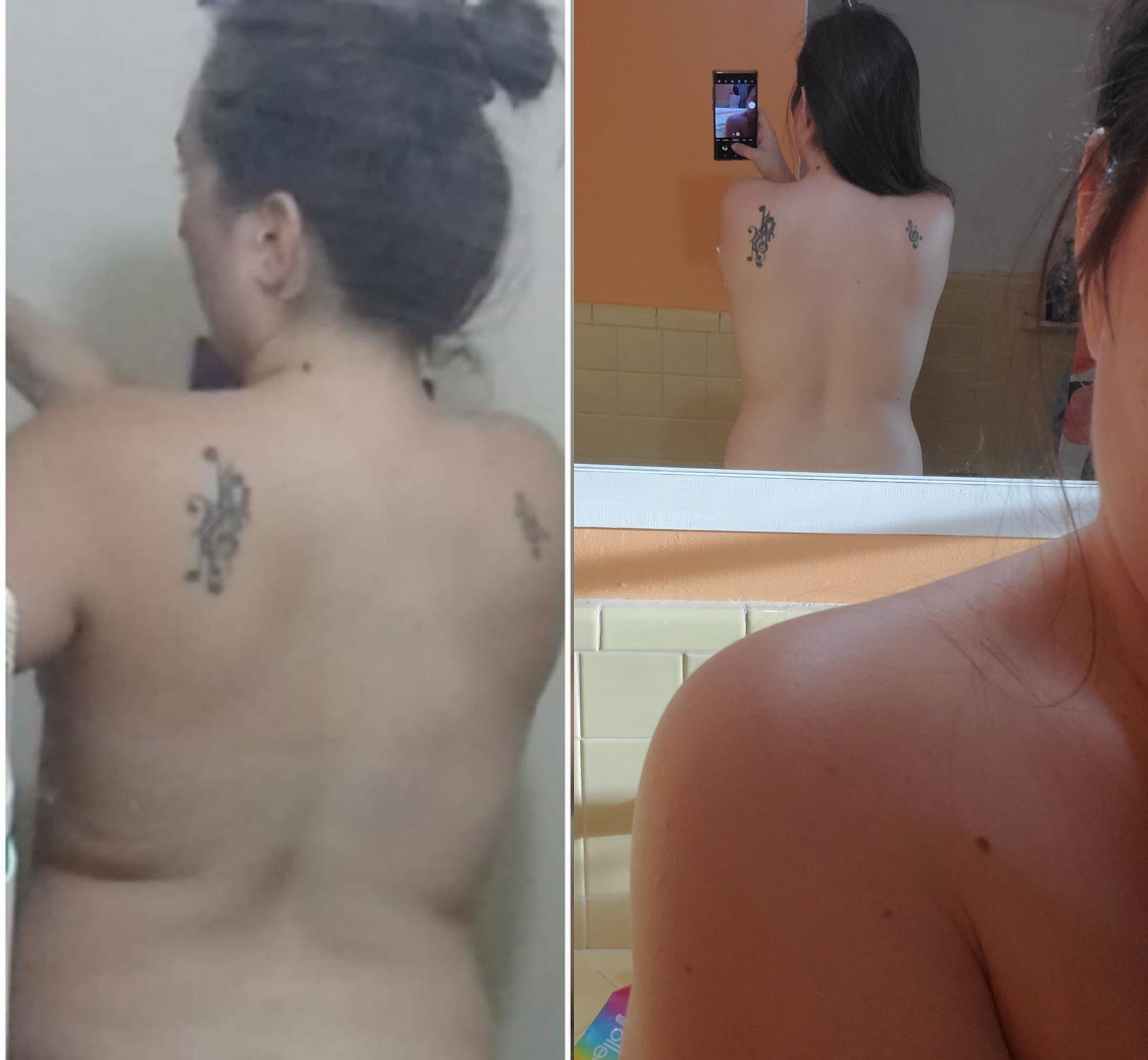 Before and After 24 lbs Weight Loss 5'2 Female 171 lbs to 147 lbs