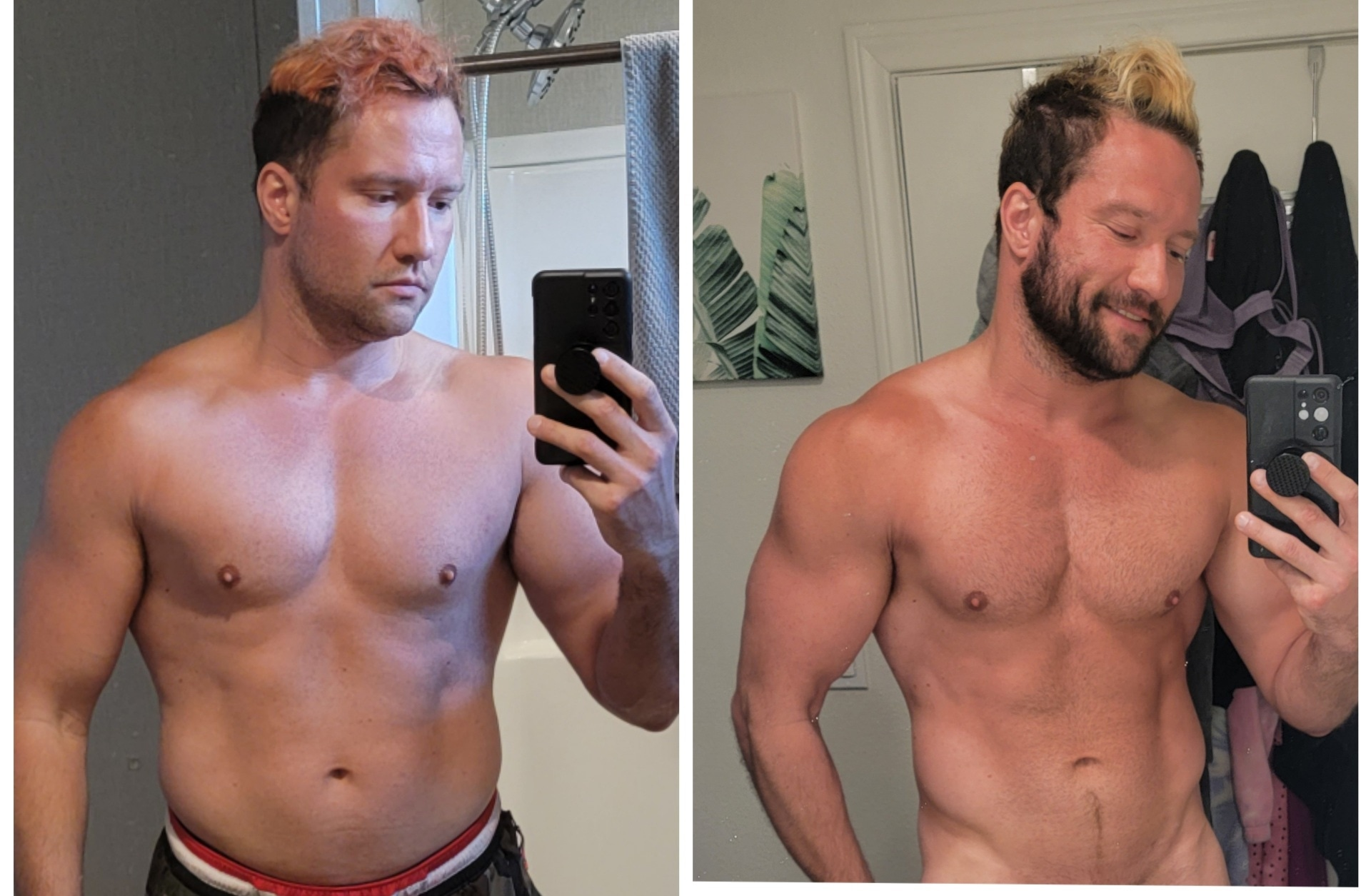 Before and After 24 lbs Fat Loss 6 foot 2 Male 250 lbs to 226 lbs