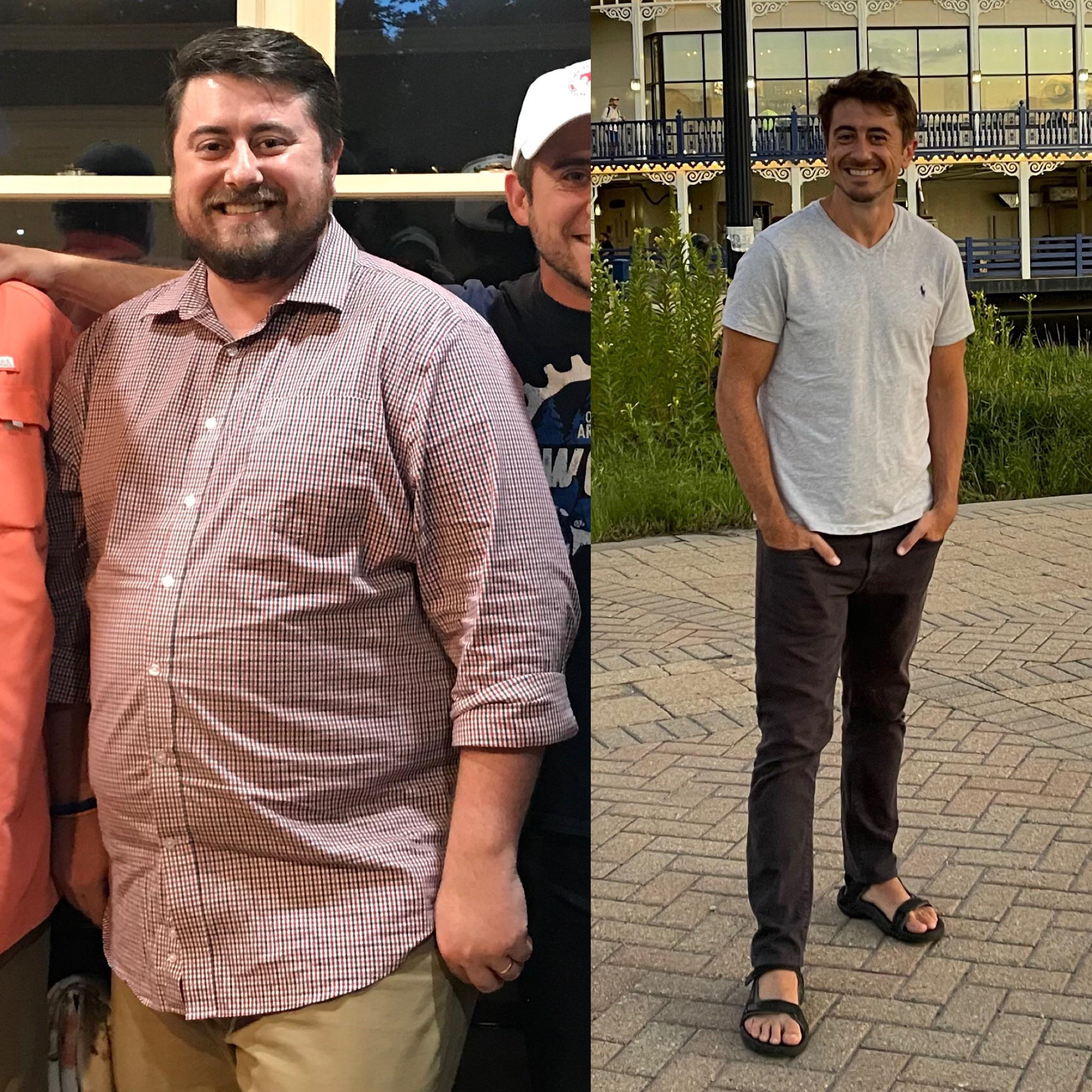 5 feet 10 Male 125 lbs Fat Loss Before and After 290 lbs to 165 lbs
