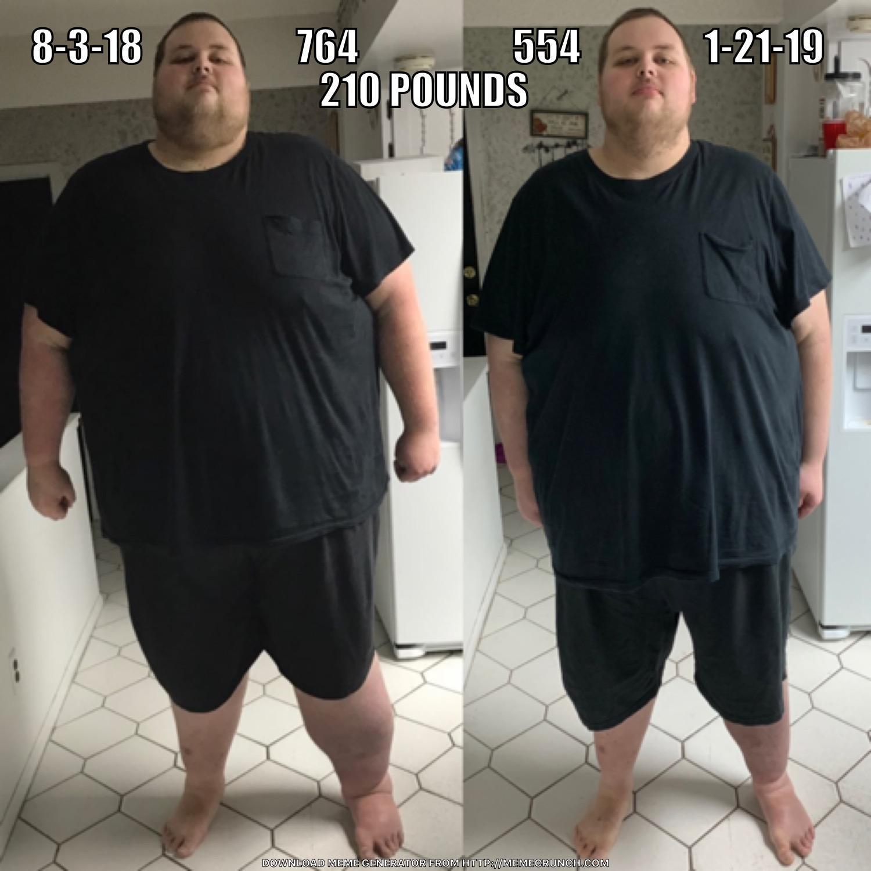 6'8 Male 210 lbs Fat Loss 764 lbs to 554 lbs