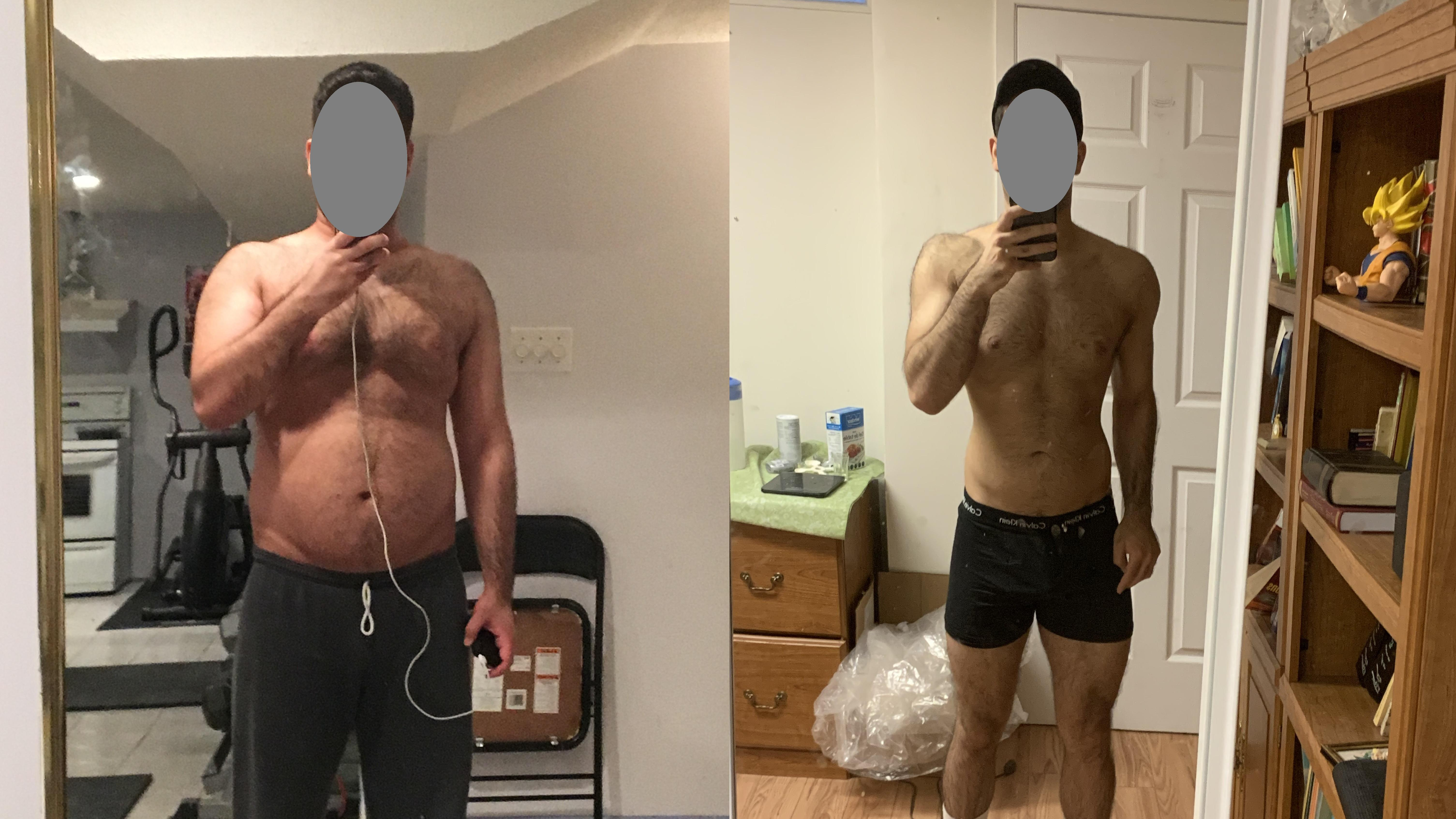 5 foot 10 Male 54 lbs Fat Loss Before and After 214 lbs to 160 lbs