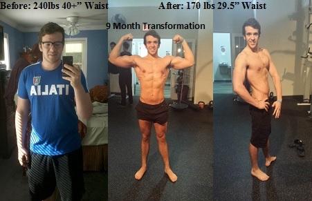 5 feet 9 Male Progress Pics of 70 lbs Fat Loss 240 lbs to 170 lbs