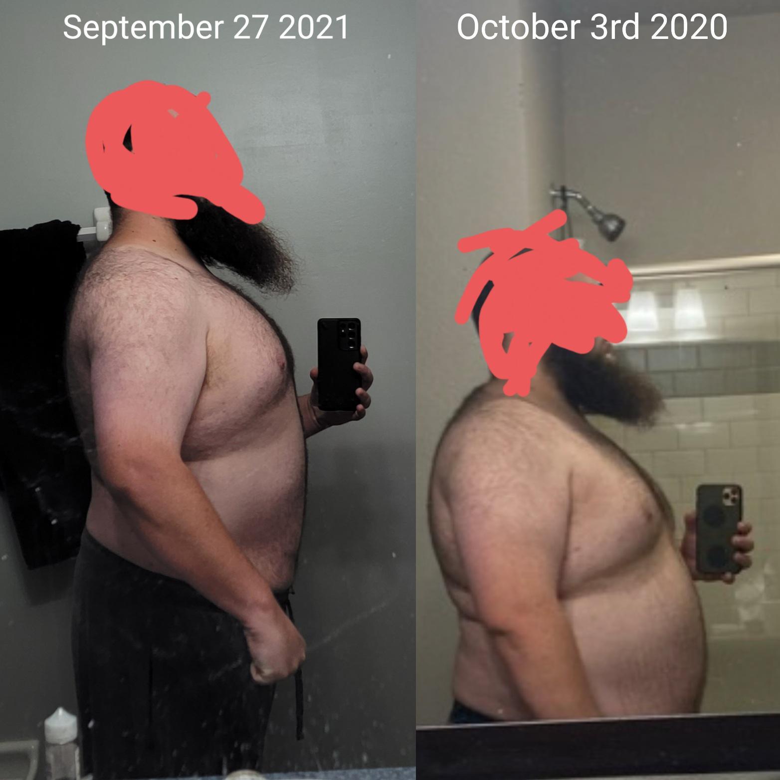 Progress Pics of 60 lbs Weight Loss 6'1 Male 350 lbs to 290 lbs