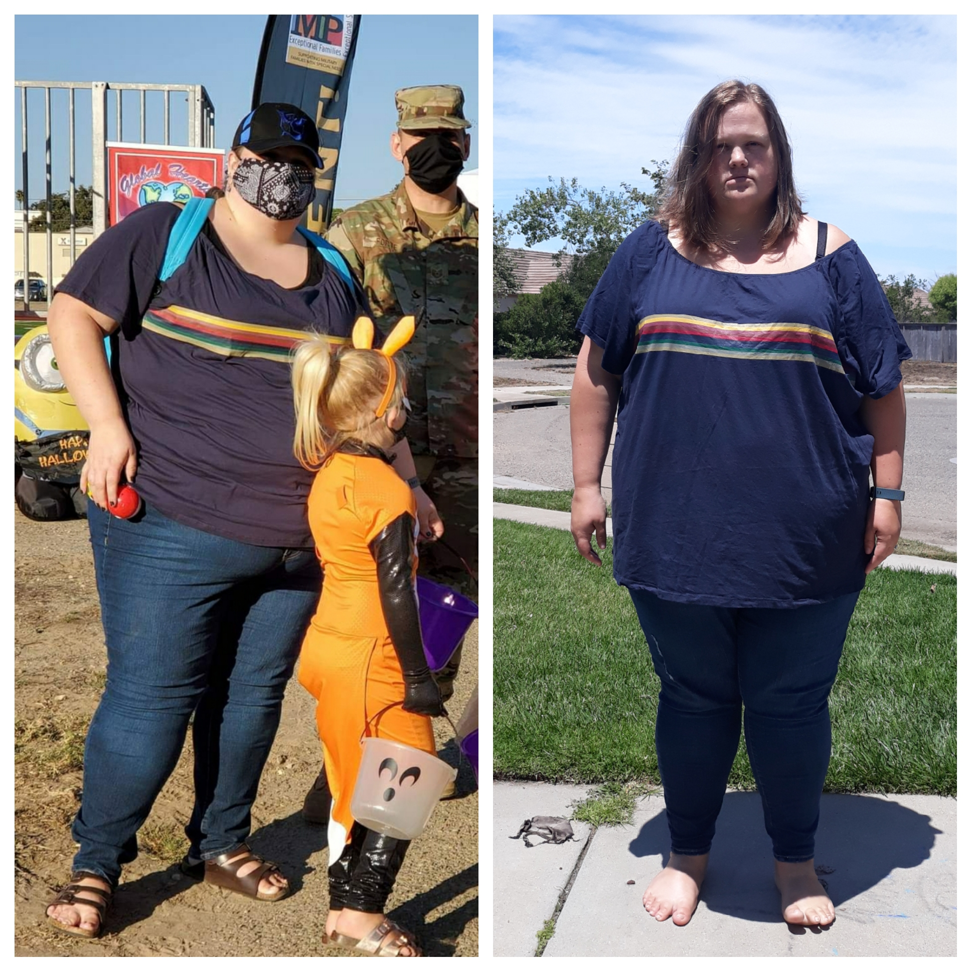 52 lbs Fat Loss Before and After 5 foot 6 Female 369 lbs to 317 lbs