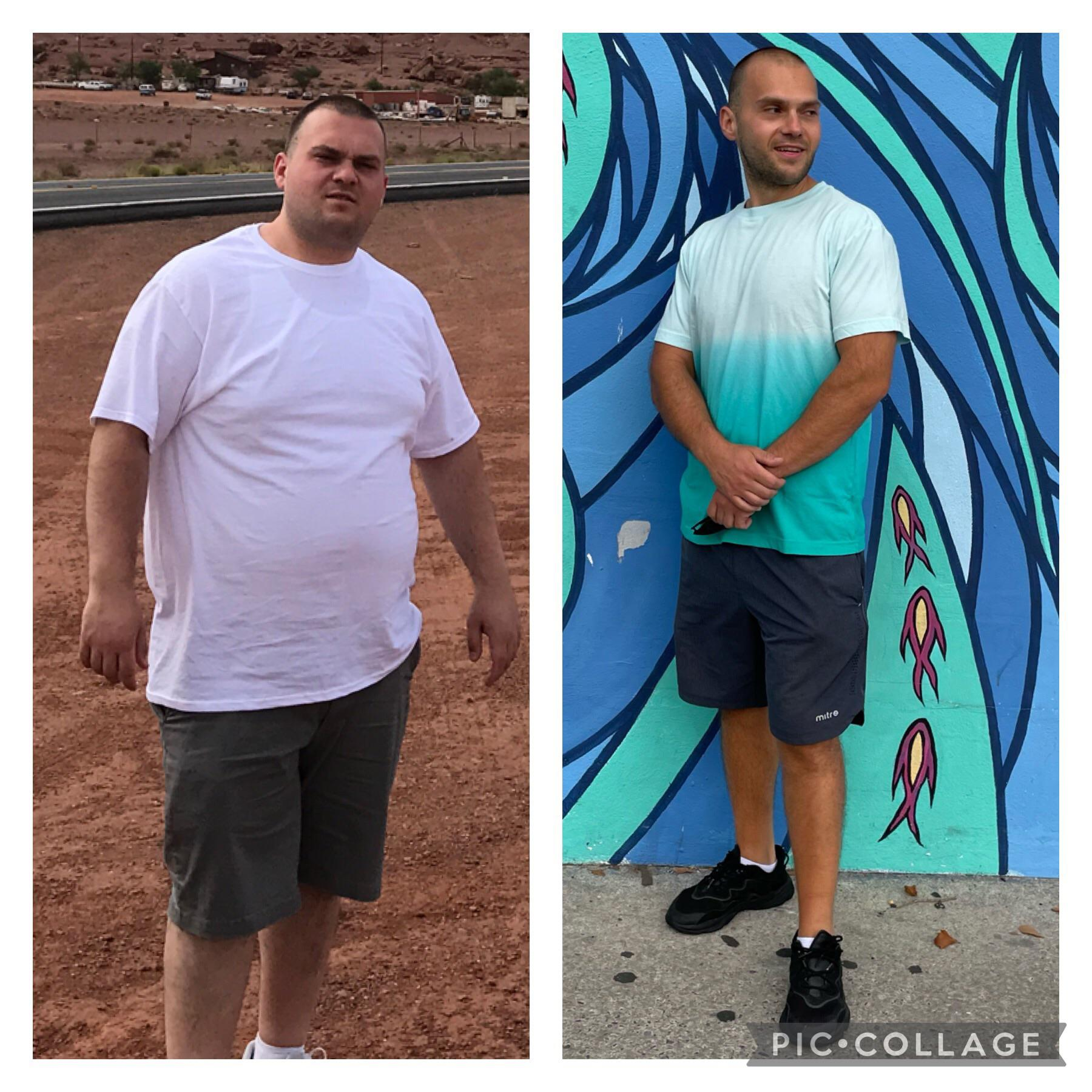 Before and After 124 lbs Weight Loss 5 feet 10 Male 309 lbs to 185 lbs