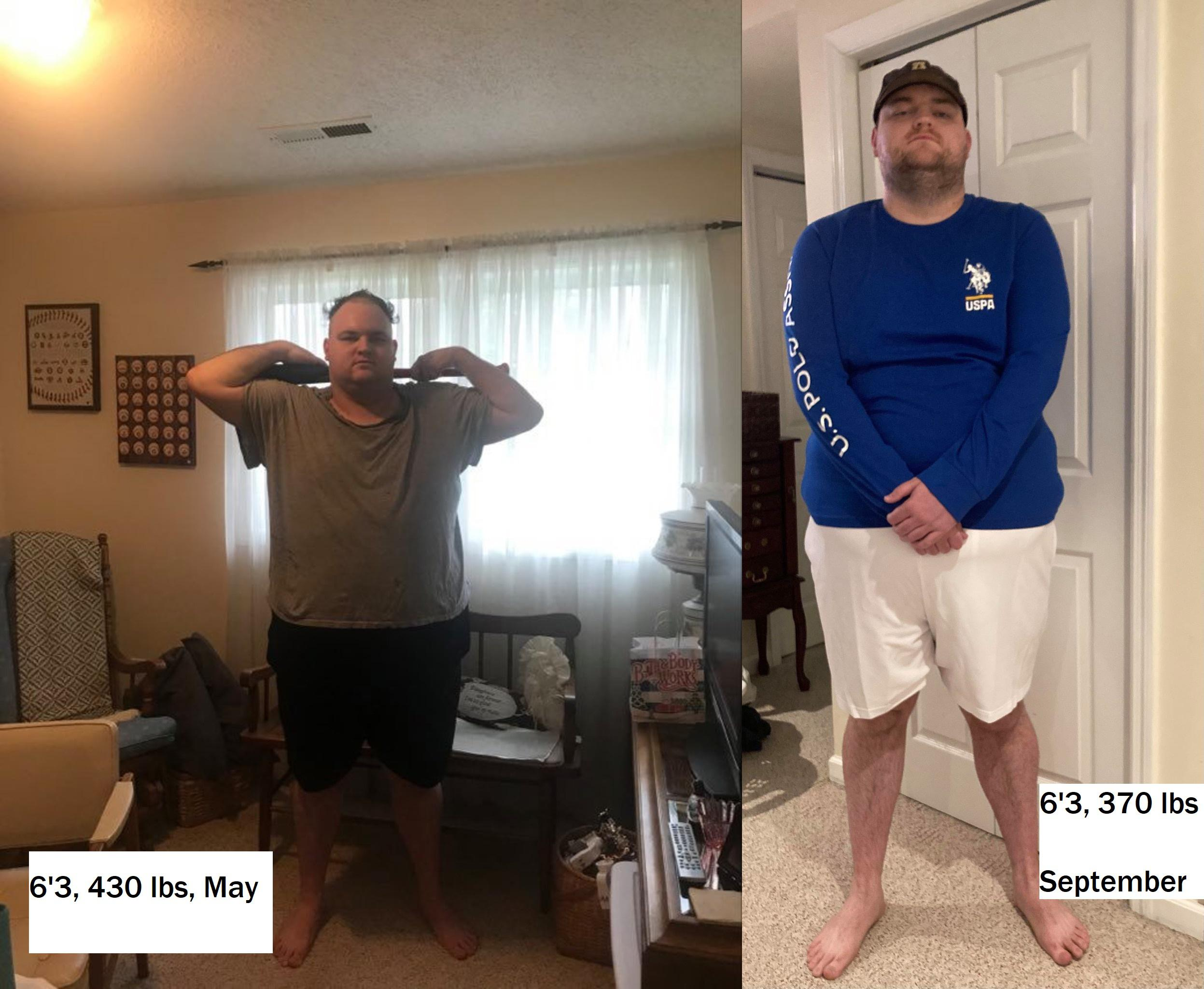 60 lbs Fat Loss 6 foot 3 Male 430 lbs to 370 lbs