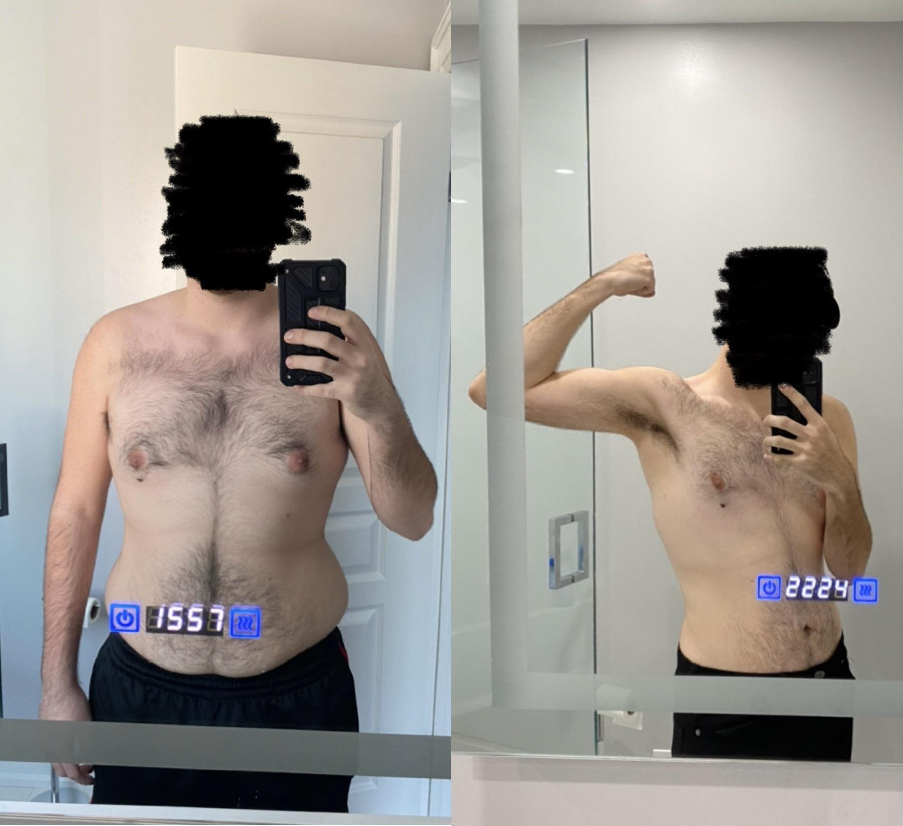 Before and After 41 lbs Fat Loss 5 foot 10 Male 214 lbs to 173 lbs