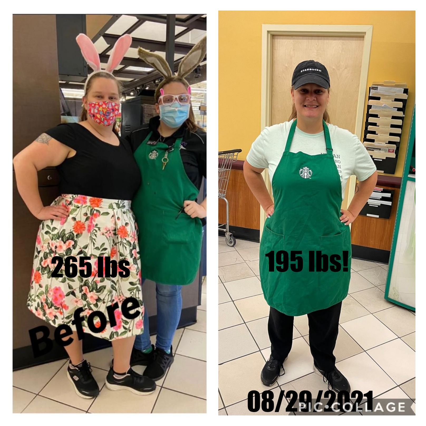 70 lbs Fat Loss 5 foot 6 Female 265 lbs to 195 lbs
