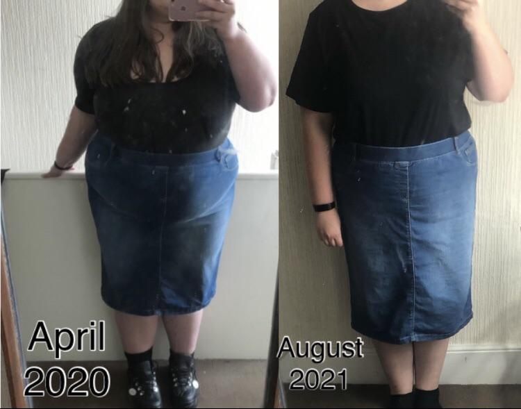 5 feet 5 Female 100 lbs Fat Loss Before and After 347 lbs to 247 lbs