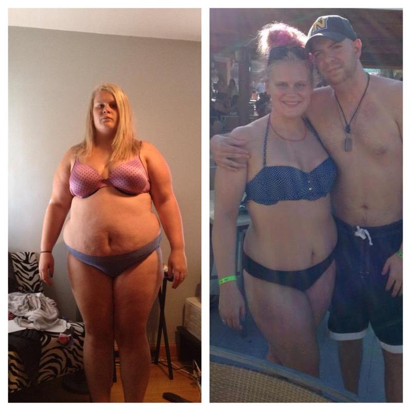 Before and After 96 lbs Weight Loss 5'6 Female 291 lbs to 195 lbs