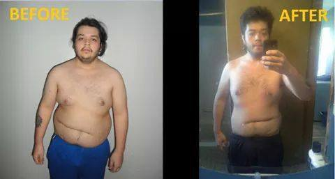 5 foot Male Before and After 92 lbs Fat Loss 300 lbs to 208 lbs