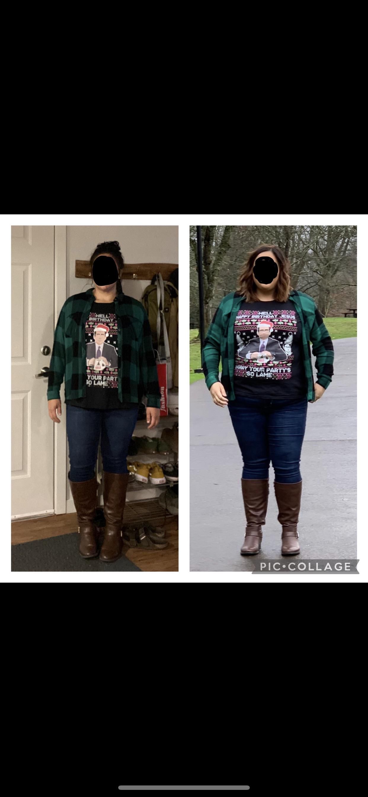 Before and After 44 lbs Weight Loss 5 foot 4 Female 252 lbs to 208 lbs