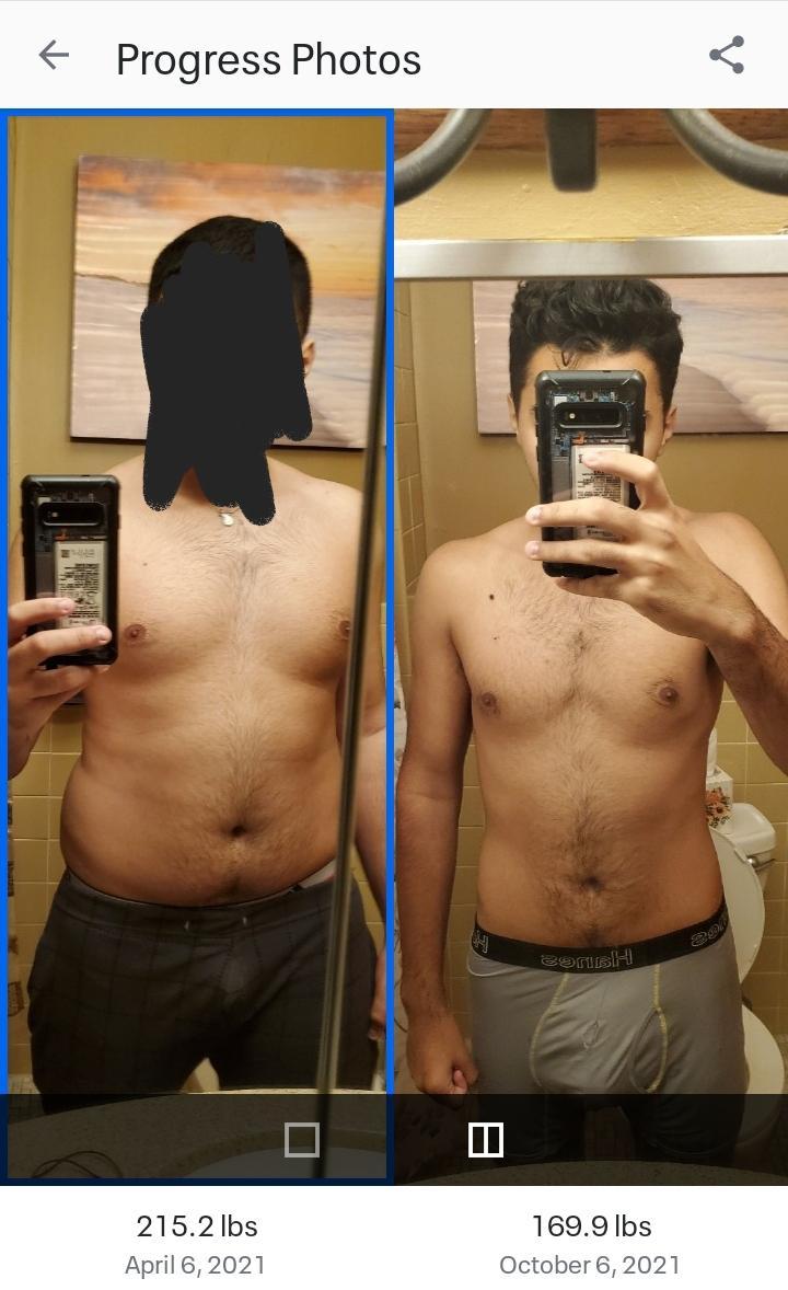 45 lbs Weight Loss 6'1 Male 215 lbs to 170 lbs