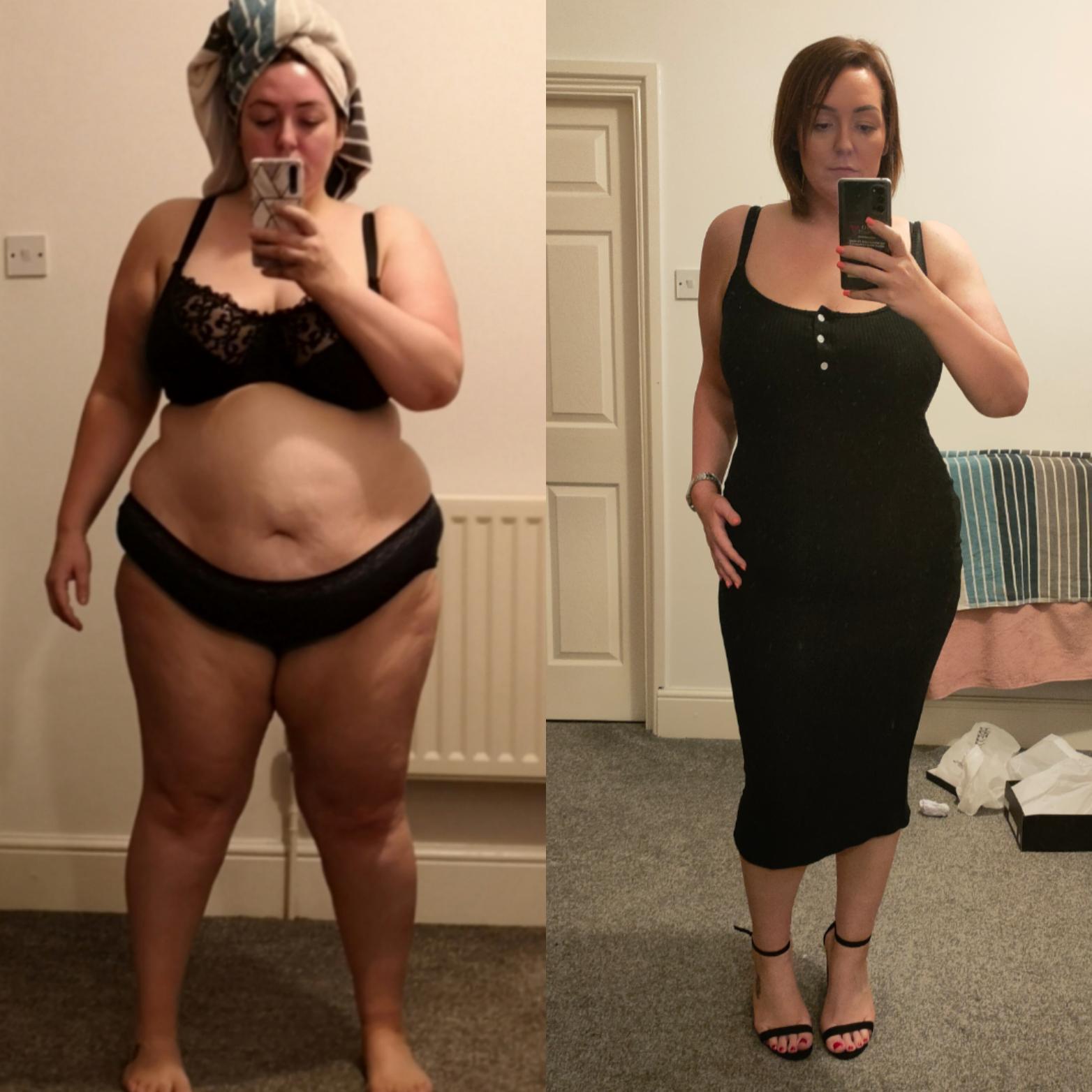Progress Pics of 88 lbs Weight Loss 5 feet 4 Female 300 lbs to 212 lbs