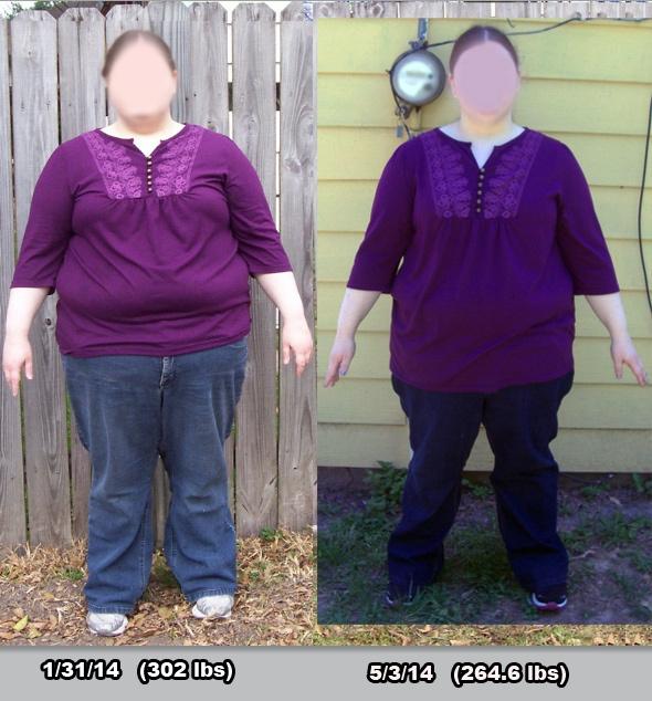 Progress Pics of 38 lbs Weight Loss 5 feet 3 Female 302 lbs to 264 lbs