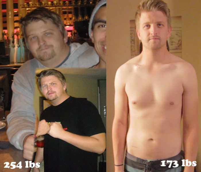 6 feet 1 Male 81 lbs Fat Loss Before and After 254 lbs to 173 lbs