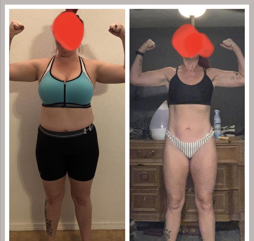 5 foot 3 Female 29 lbs Fat Loss Before and After 165 lbs to 136 lbs