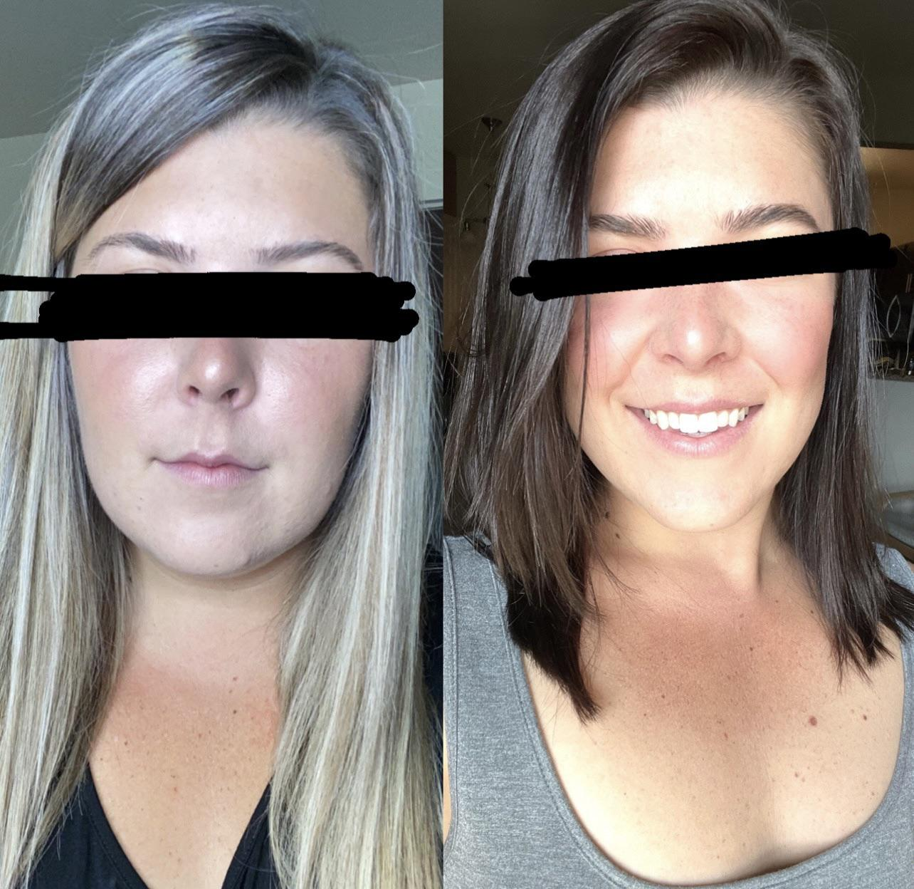 73 lbs Weight Loss Before and After 5 foot 5 Female 221 lbs to 148 lbs