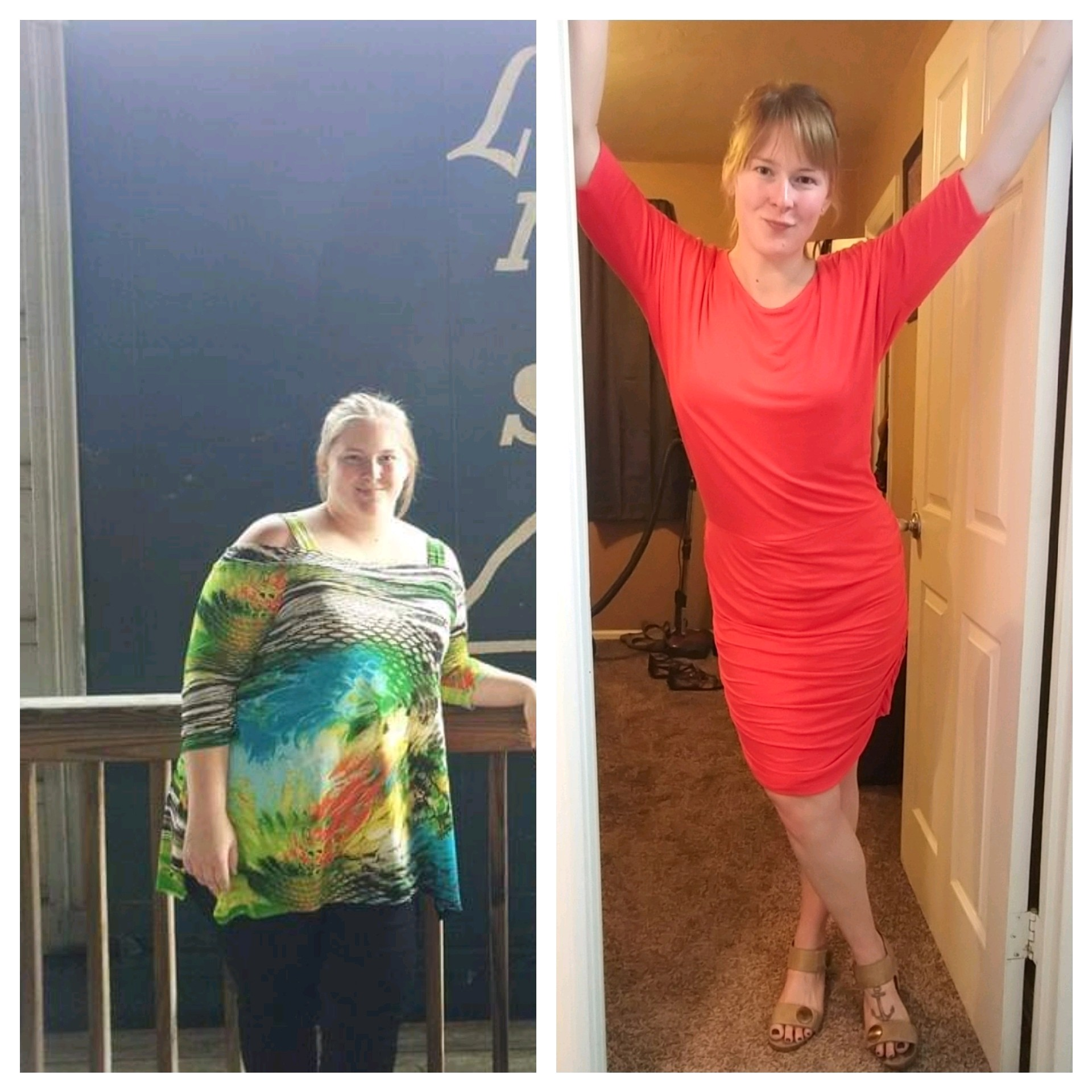 100 lbs Weight Loss Before and After 5 foot 7 Female 275 lbs to 175 lbs
