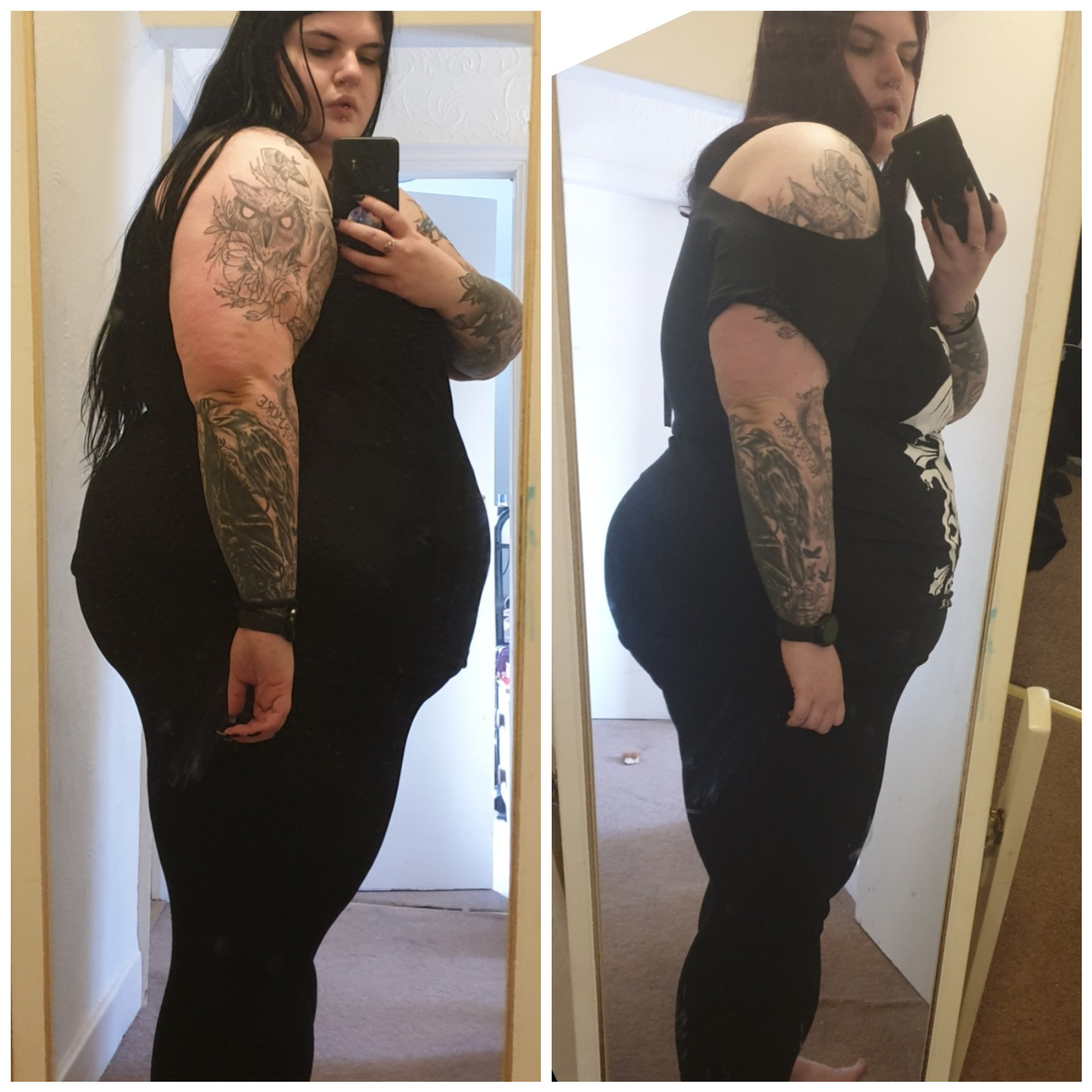 5 feet 10 Female 36 lbs Fat Loss Before and After 355 lbs to 319 lbs