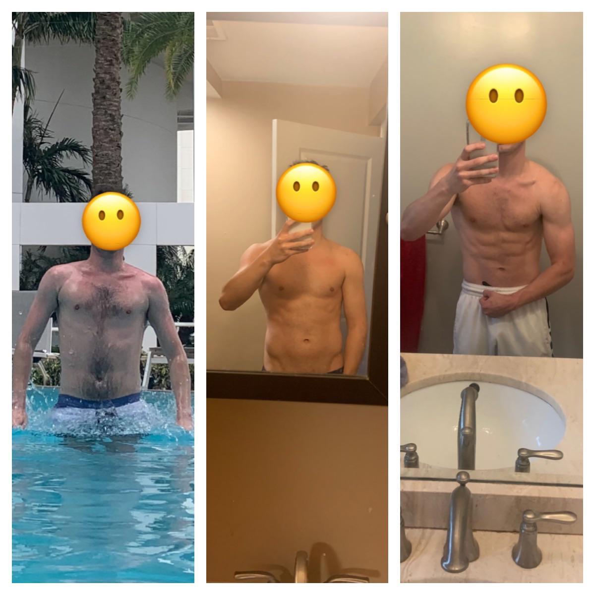 5'10 Male Progress Pics of 12 lbs Fat Loss 170 lbs to 158 lbs