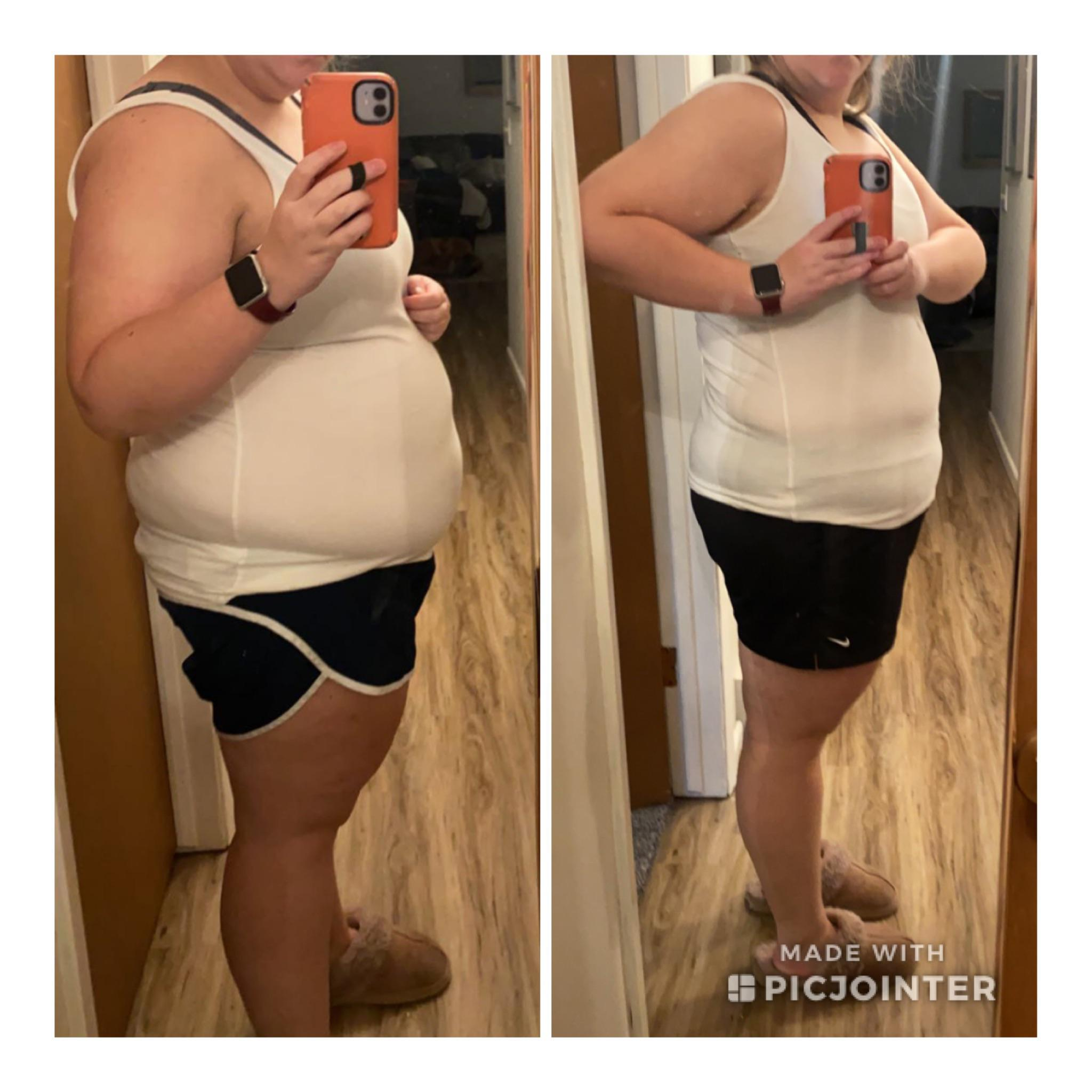 Before and After 25 lbs Weight Loss 5 foot 3 Female 243 lbs to 218 lbs