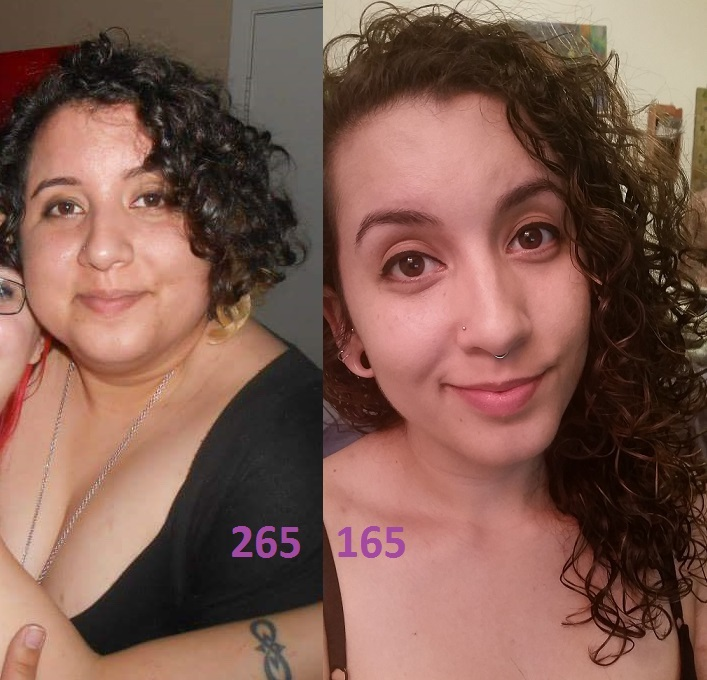 100 lbs Weight Loss 5 feet 6 Female 265 lbs to 165 lbs