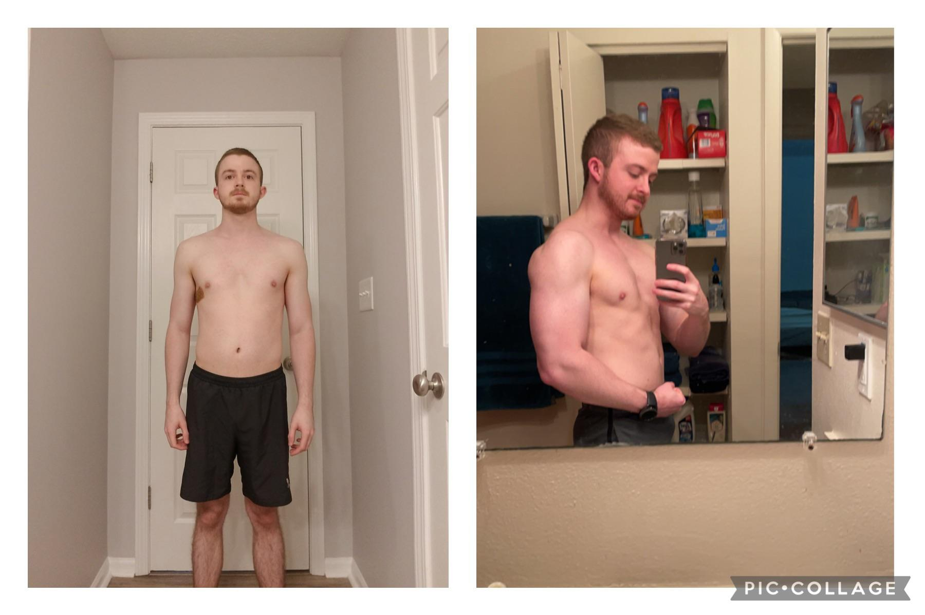 Before and After 22 lbs Weight Gain 5 feet 7 Male 133 lbs to 155 lbs