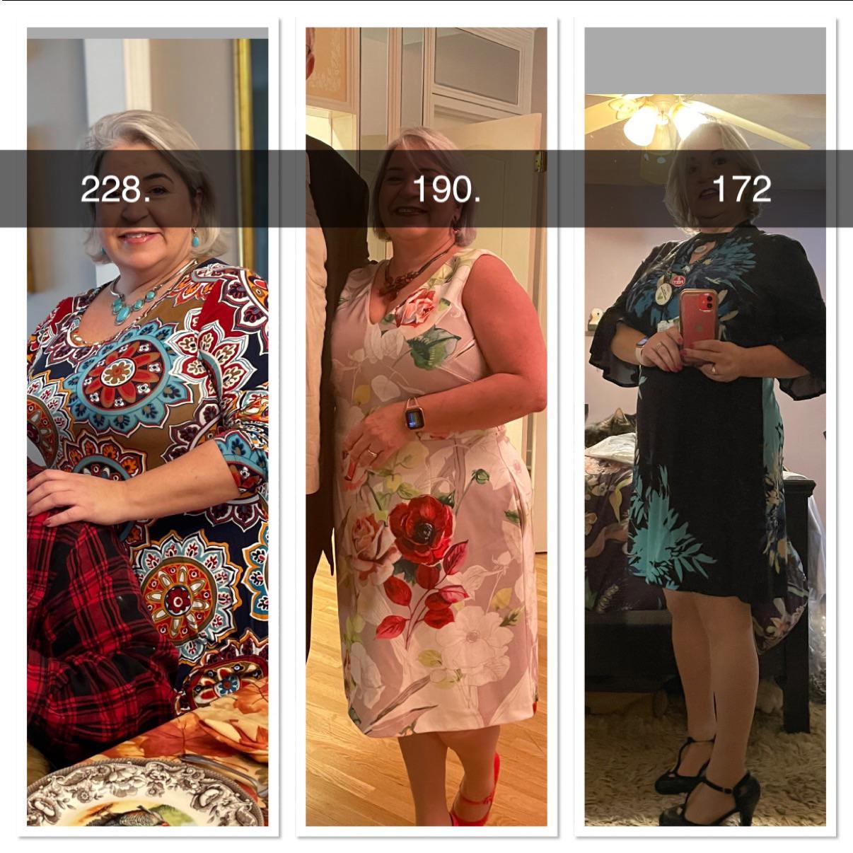 5'2 Female Progress Pics of 56 lbs Weight Loss 228 lbs to 172 lbs