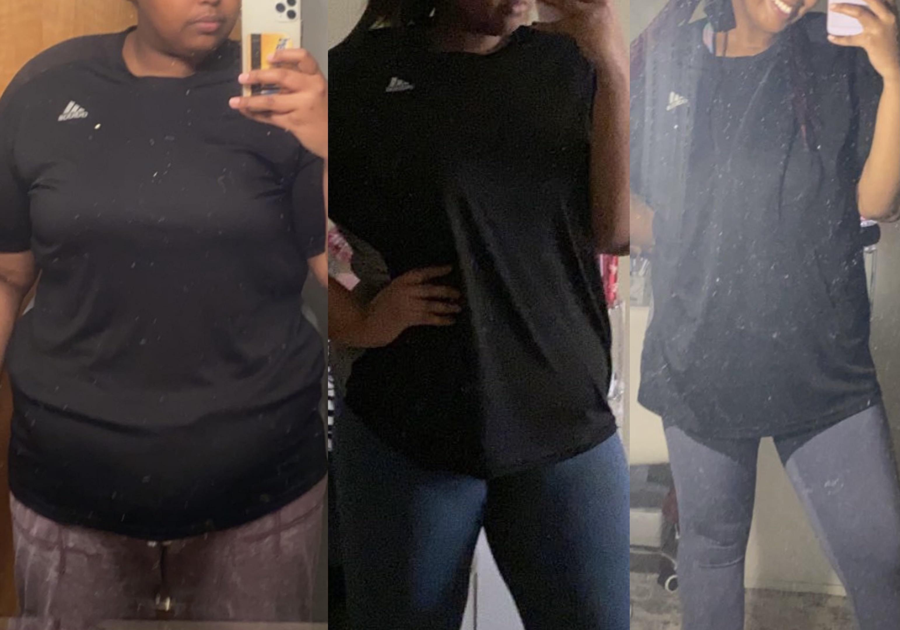 Before and After 100 lbs Weight Loss 5 foot 7 Female 299 lbs to 199 lbs